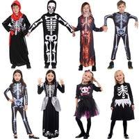 Umorden Halloween Purim Party Skeleton Costumes Kids Skull Skeleton Monster Demon Ghost Scary Costume Dress Robe for Boys Girls