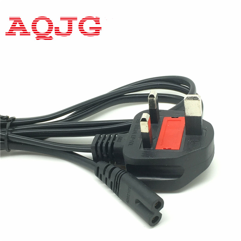 New Black 1.5m UK To IEC 320 C7 Female Angled Power Cable C7 Plug Power Cord PowerPort USB Charger For computer Laptop AQJG european iec320 c7 female to c8 male plug extension cord iec 320 c7 c8 extension cords 8 male to female power line 5m 5 pcs