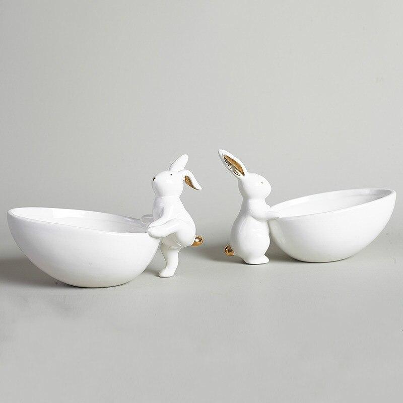 Керамическая тарелка для фруктов, украшение, лоток для хранения кролика, креативная тарелка для закусок, Ювелирная тарелка