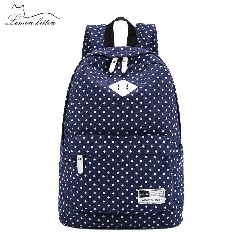Lemon Kitten Shoulder Bag Korean Leisure Canvas Women Backpack Student School Bag Rucksack Backpack For Women Preppy Style