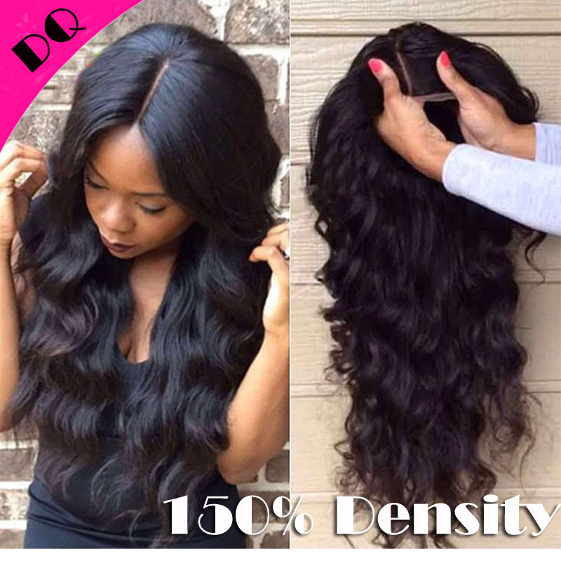 Glueless Virgin Indian Hair 150 Density Human Hair Full Lace Wigs with Baby Hair Natural Looking Hair Line Lace Front Wigs