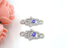 22.5*12mm Blue Evil Eye Connector Hamsa Hand Charm Pendants Rhinestone Connectors Accesorios Pendientes 20Pcs/Lot B0026(China)
