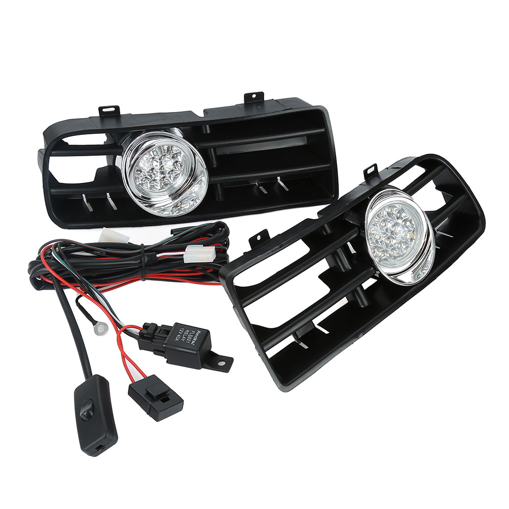 US For 99-04 VW MK4 Golf GTI 6000K White LED Bumper Driving Fog Light Grille
