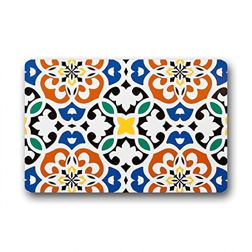 Moroccan decor bathroom - Design Design Moroccan Clover Medallion Orange Blue Black Home Fashions Non Slip Coco Door Mat 23 6 X 15 7 Inch Indoor Outdoors