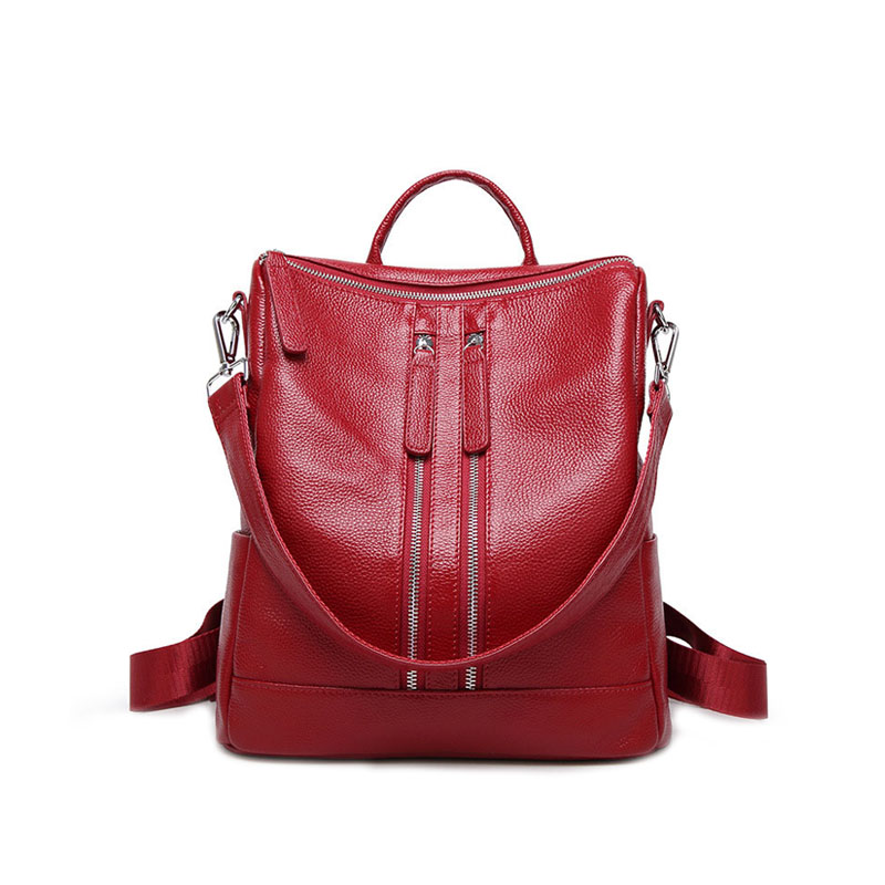 The first layer of cowhide ladies backpack leather 2018 Winter new simple female bag leisure business female backpack qiaobao 2018 new korean version of the first layer of women s leather packet messenger bag female shoulder diagonal cross bag