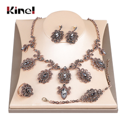 Kinel Luxury 4Pcs Gray Crystal Flower Bridal Wedding Jewelry Sets Antique Gold Color Turkey Earring Necklace Bracelet Ring Women