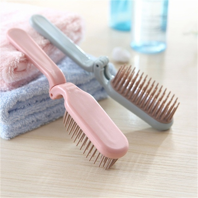 1 PCS Hot Sale Folding Portable Travel Portable Plastic Soft Tooth Combs Hairdressing Comb Long Hair Anti static Massage