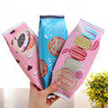 1x kawaii Macaron Cookie multi-function children Pen bag Zipper PU waterproof Makeup bag women Cosmetic Brush Storage Pouch Case