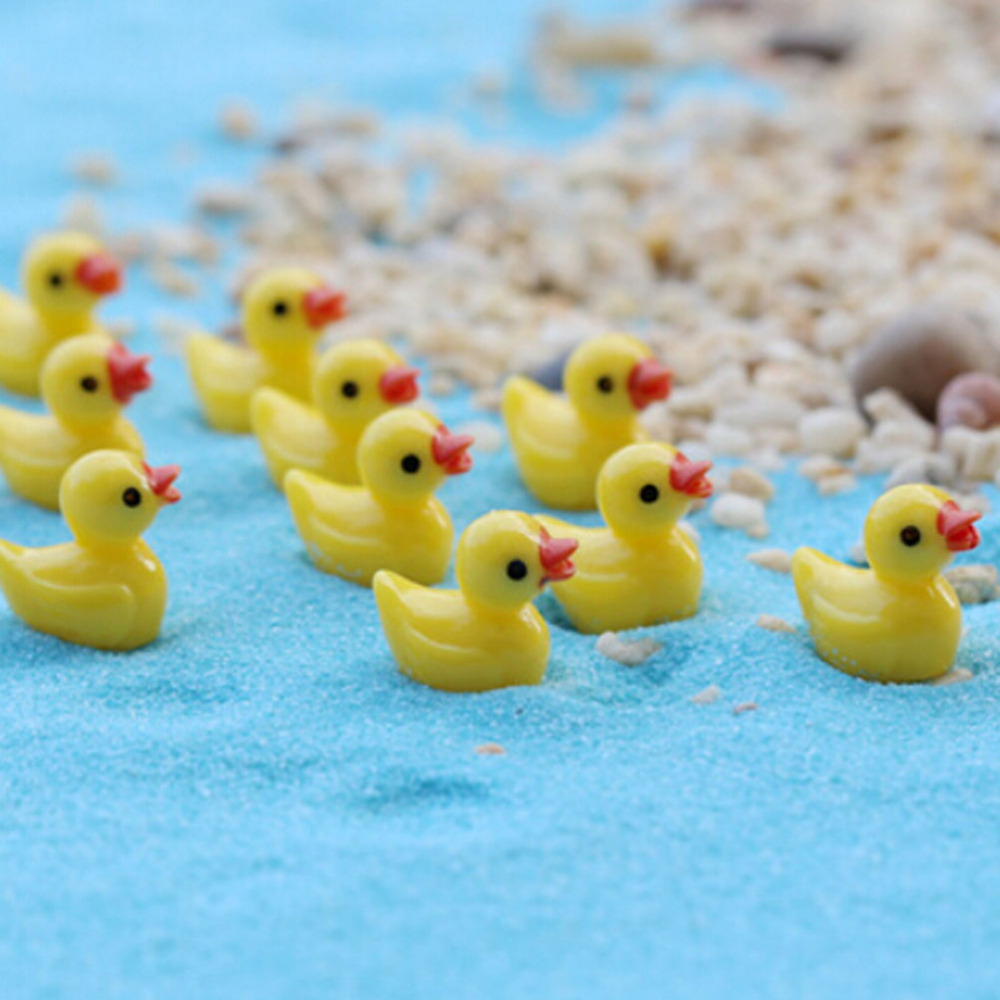 NEW Hot Sale 10Pcs Miniature Dollhouse Fairy Garden Mini Cute Little Yellow Duck Resin Crafts For Home Plants Decoration