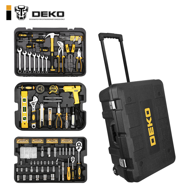 DEKO 255 Pcs כלי סט עם מתגלגל כלי תיבת מטרי Socket ברגים יד כלי ערכת אחסון מקרה Socket ברגים מברג סכין