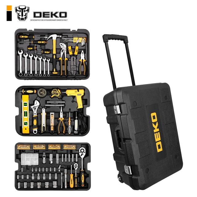 DEKO 255 Pcs Tool Set with Rolling Tool Box Metric Socket Wrench Hand Tool Kit Storage Case Socket Wrench Screwdriver Knife