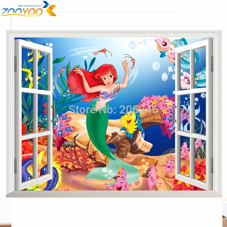 Aliexpress.com : Buy the little mermaid wall stickers for kids rooms 1424.  home decoration diy 3d window sticker wall decal for girls room 2.0 from  Reliable ...