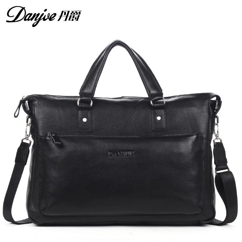 DANJUE  Male Large Capacity Brand Shoulder Bag Black Man Laptop Totes Genuine Leather Briefcase Men Business Handbag