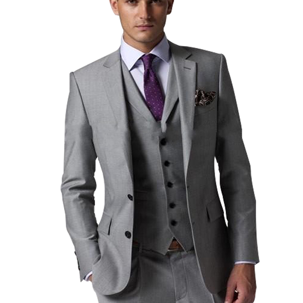 Men's 3 Piece 2 Button Flat Collar Gray Formal Fit Tailcoat Male Suits for Big Event New Arrival Groom Tuxedos Men Suits button up tailcoat