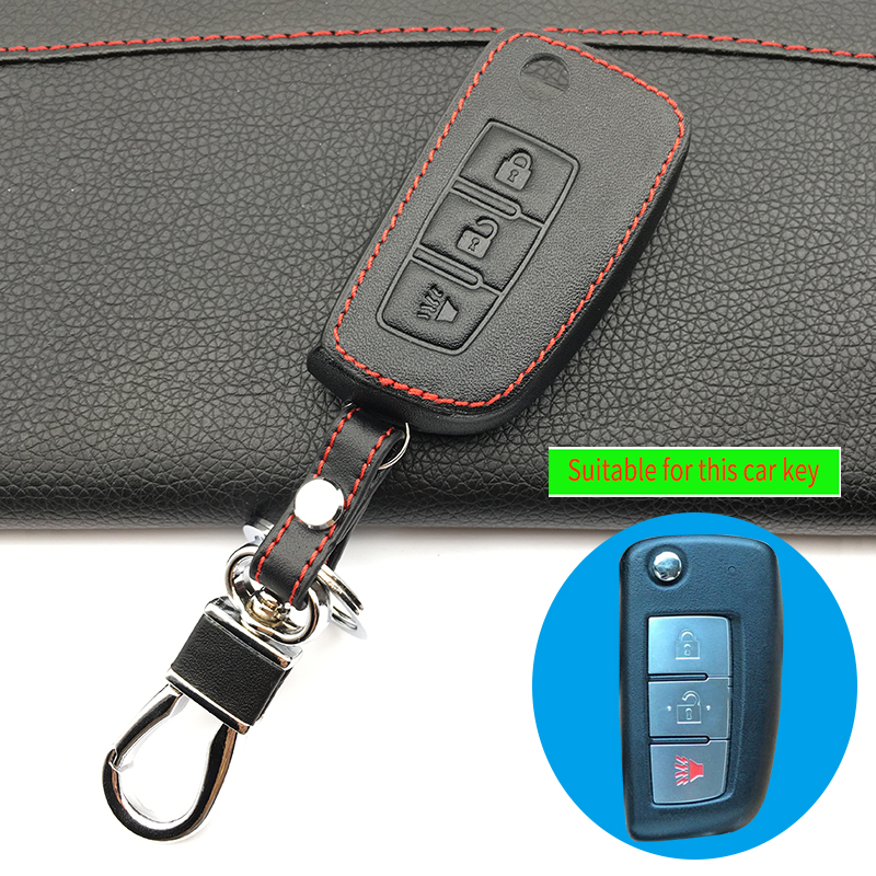 Car Style Cover 3 Buttons High Quality Leather Key Case Cover For Nissan Qashqai X trail-Murano Maxima Altima Juke QUEST Livina