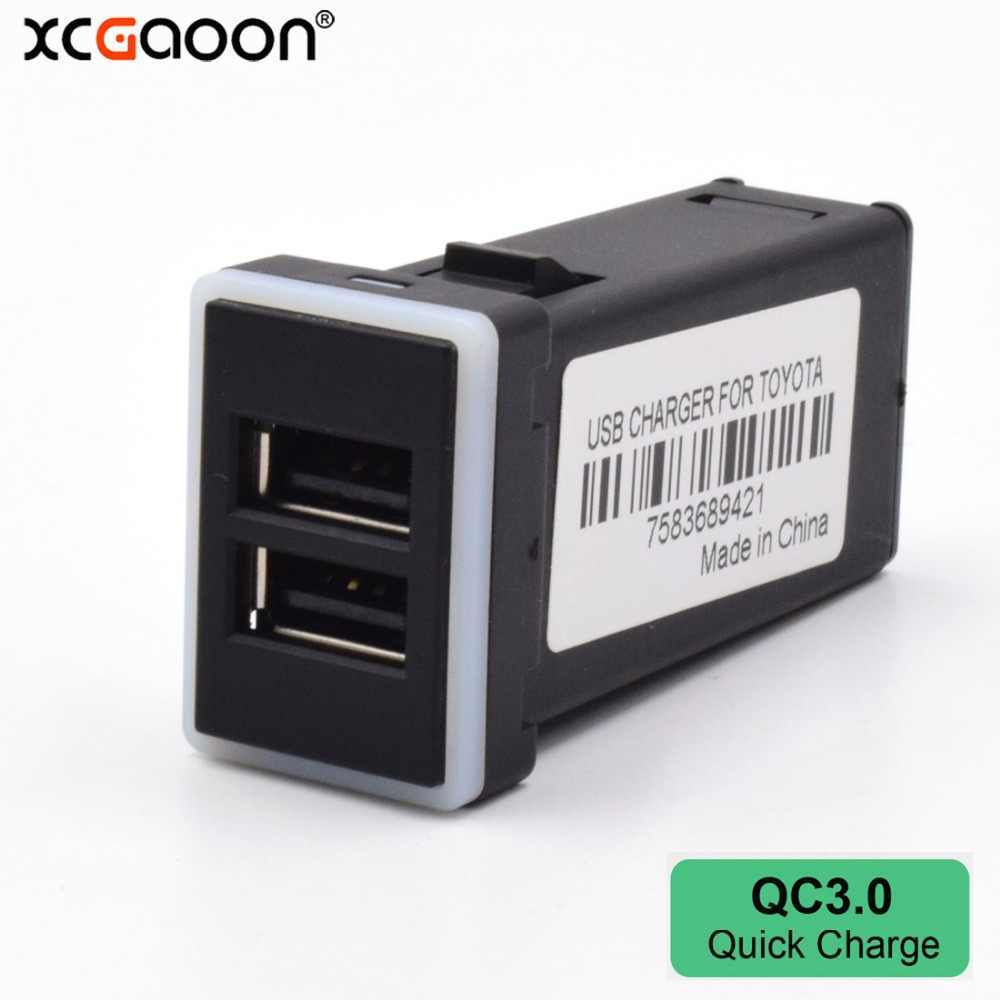 XCGaoon Special QC3.0 Quick Charger 2 USB Interface Socket Charger Adapter For TOYOTA, DC-DC Power Inverter Converter