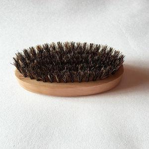 Image 4 - 1PC Men Natural Boar Bristle Beard Mustache Brush Military Wood Handle Comb Newest