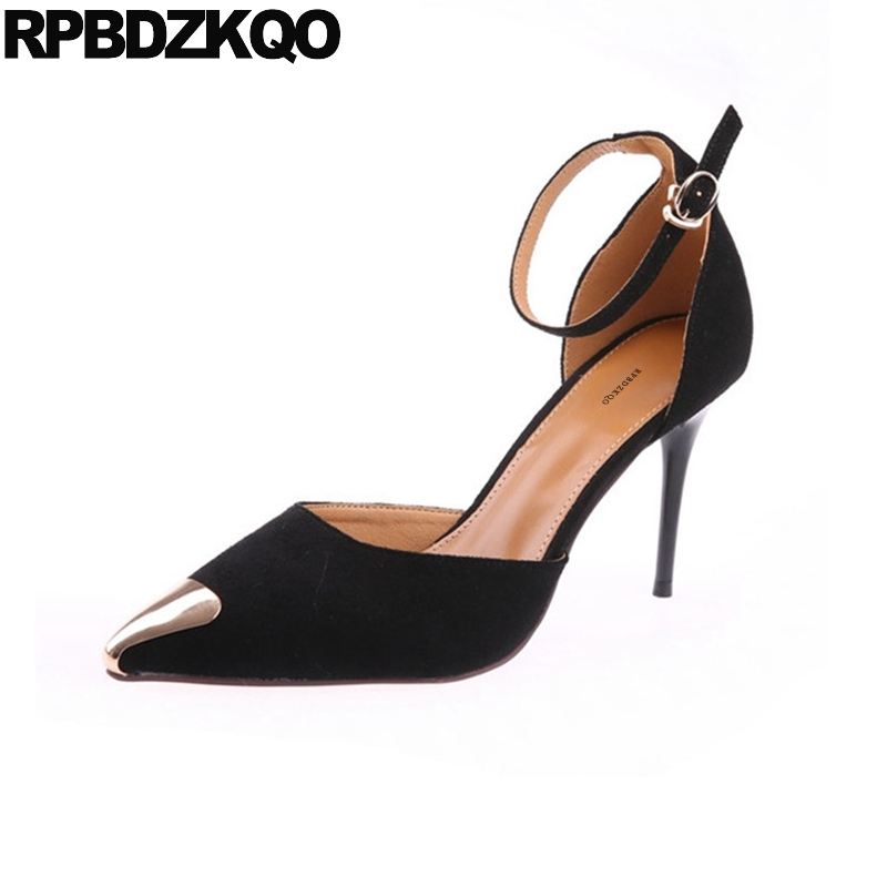Pointed Toe Suede Size 4 34 Famous Ankle Strap Women Thin 2018 Black High Heels Catwalk Sandals Pumps Turquoise Wedding Shoes crystal wedding shoes women red rhinestone suede jewel pointed toe high heels black size 33 ankle strap super pumps bride thin