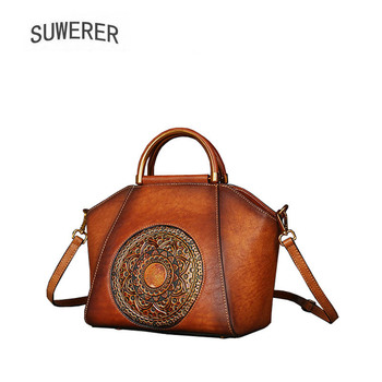 SUWERER 2018 New Genuine Leather women bags luxury leather shoulder bag top Cowhide Retro embossing women famous brands bag