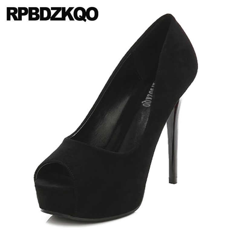 8a613b213c0 Cheap Black 12cm 5 Inch Scarpin Platform Extreme Size 33 Shoes High Heels  Super Suede Women