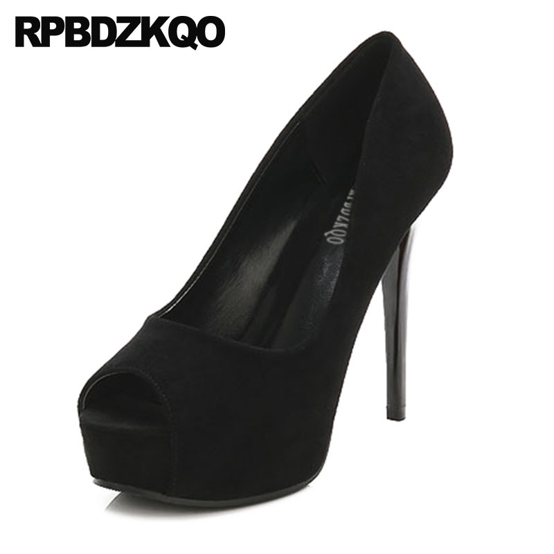 7f07ec951492 Detail Feedback Questions about Cheap Black 12cm 5 Inch Scarpin Platform  Extreme Size 33 Shoes High Heels Super Suede Women Pumps Ultra Fetish Peep  Toe ...
