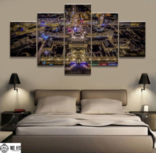 Hot Sales Without Frame 5 Panels Picture Overlook the City Gods Perspective Painting Artwork Wall Art Canvas Wholesale