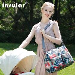 Insular 4 PCS/ SET Fashion Printed Nylon Mother Baby Bag Set Multi-function Maternity Diaper Nappy Bag Baby Stroller Trolley Bag
