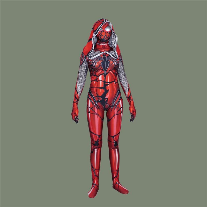 Spider-Man: Homecoming Lycra Womens Venom Red Cloak Spider-Man Cosplay Tights Spider-Man Play Costume Onesies