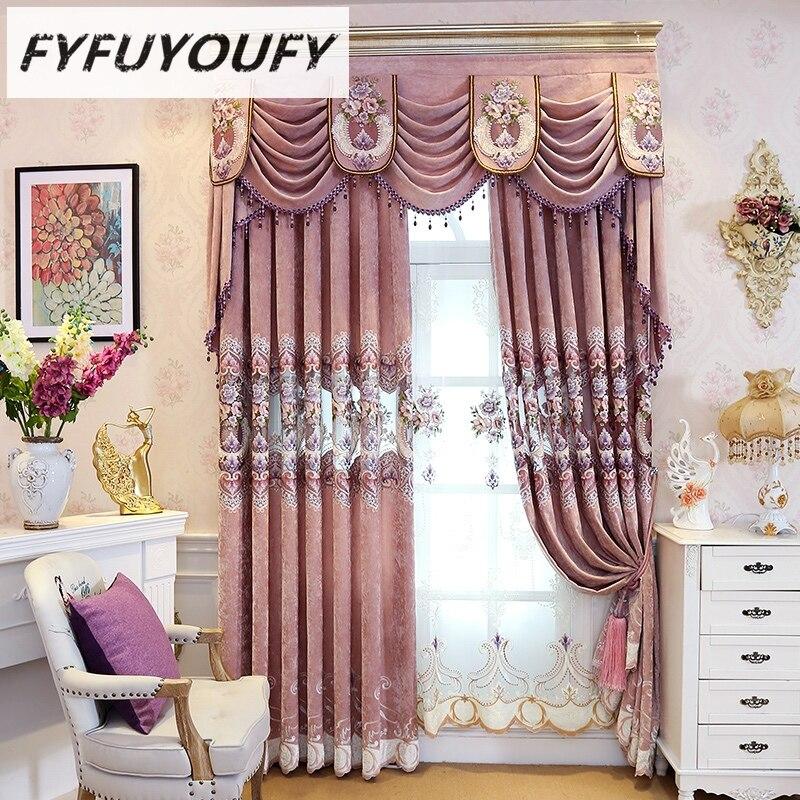 FYFUYOUFY Vysoce kvalitní vyšívací závěsy pro obývací pokoj s talířovými záclonami