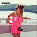 Summer strapless Off Shoulder Playsuits Ruffles beach Shorts set Womens Rompers Jumpsuit FS0222