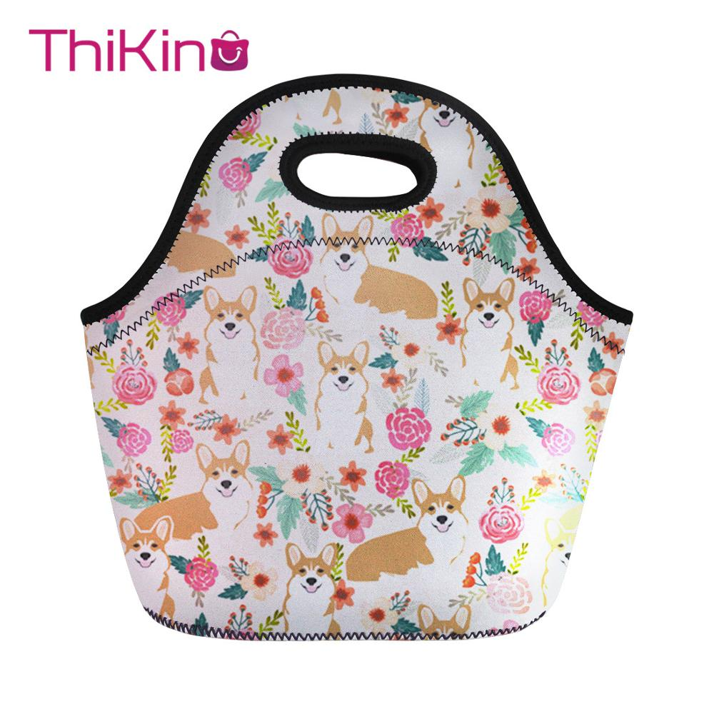 Thikin Lovely Dog Lunch Bag For Women Kawaii Cute Printing Thermal Lunchbox Travel Lancheira Kid Girl Cooler Food lunchbag