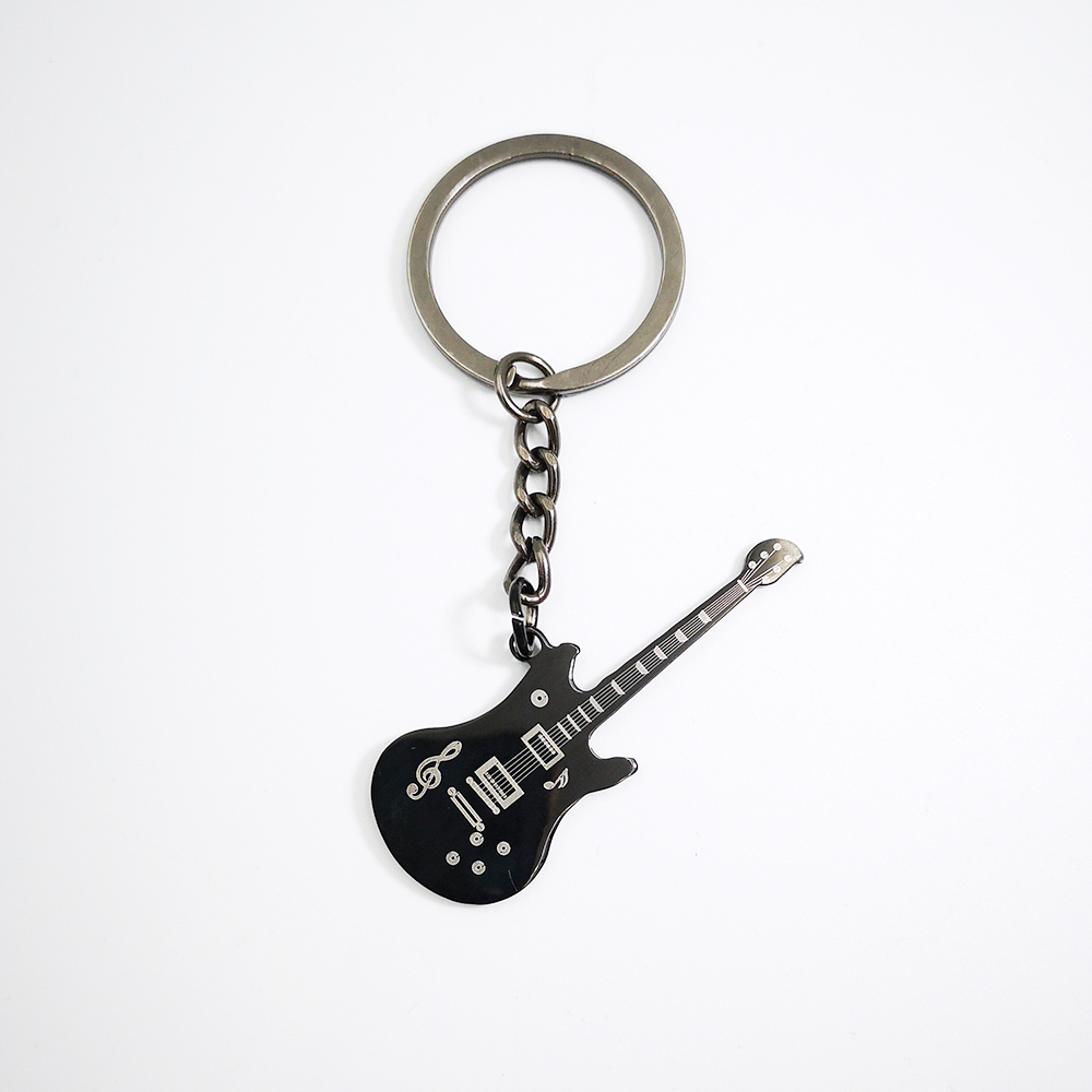 2019 New Design Black Guitar Keychain Car Key Chain Ring Musical Fans Souvenir Gift For Man Women Wholesale Dropshipping image