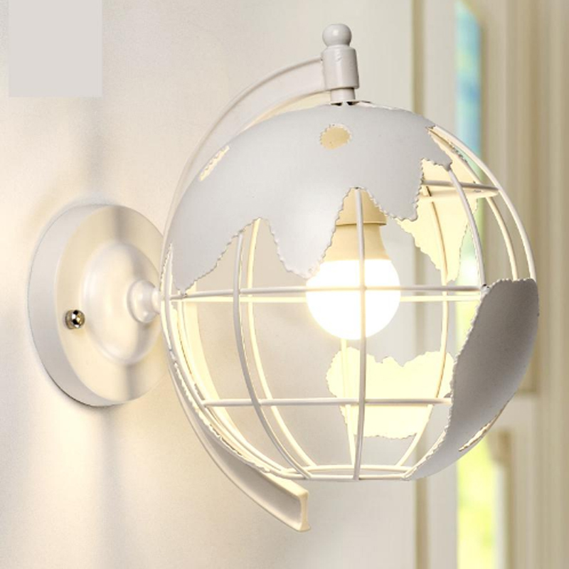 Globe Industrial Restaurant Light Creative Retro Wall Lamp Bedroom Bedside Lamp Bar Staircase Corridor Wall Lantern Wrought Iron nordic style retro light creative 1 lamp holder corridor bedside deco sconce wall lights contracted wrought iron wall lamps
