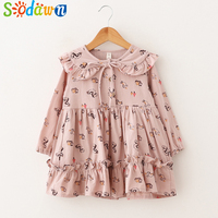 Sodawn 2018 Spring New Cotton Cartoon Print Lace Design Cute Girl Dress Kids Clothing For Girls