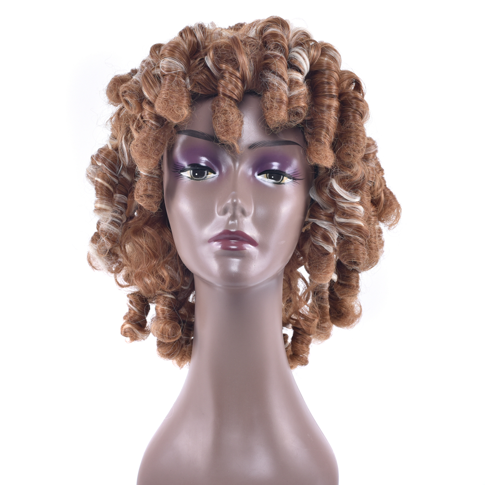 Soowee 4 Colors Deep Curly Short Synthetic Hair Cosplay Wigs Blonde Burgundy Party Hair  ...