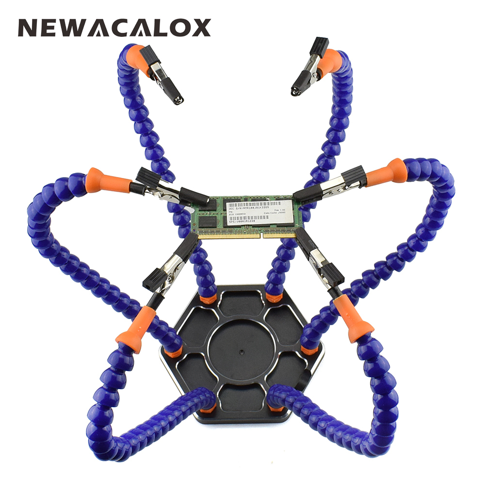 NEWACALOX Multi Soldering Helping Hands Third Hand Tool with 6pcs Flexible Arms For PCB Board Soldering Assembly Repair Station new multi soldering helping tool third hand with led light flexible arms for pcb board soldering assembly repair station