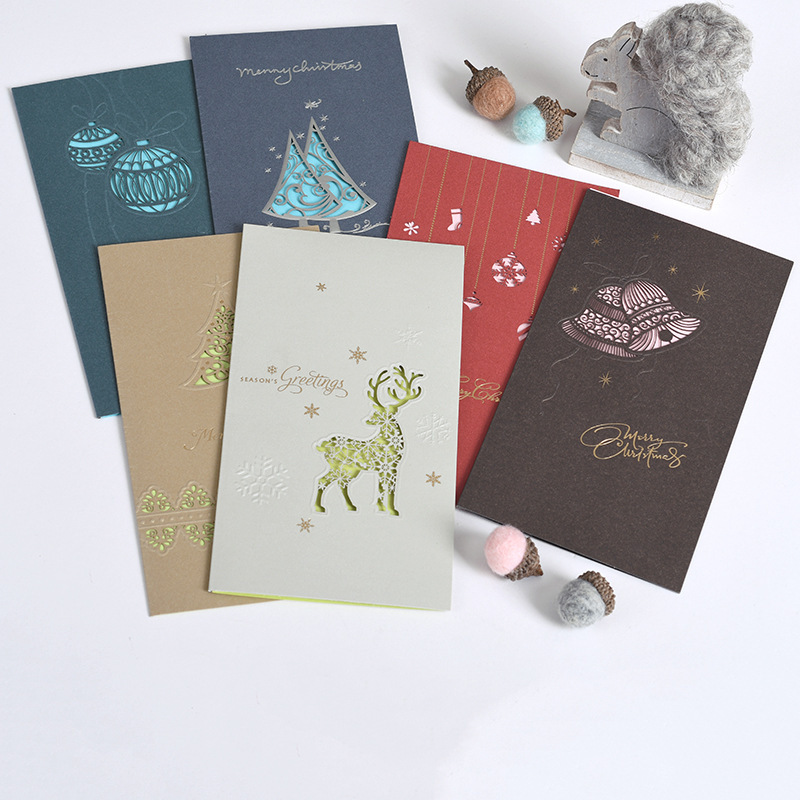 6 pcs/lot Vintage Merry Christmas letter postcard greeting card birthday New Year message card gift cards paper cards escolar