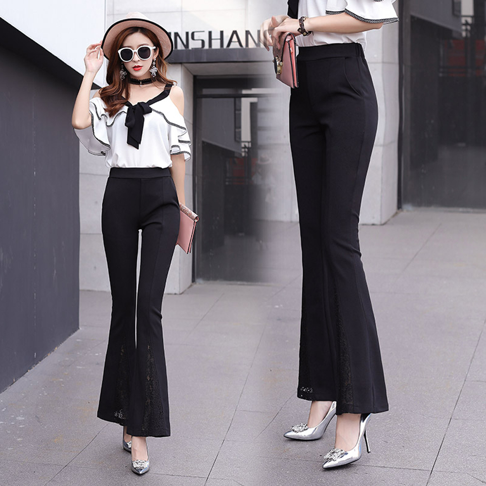 women high waist lace stitching flare pants summer fashion long trousers female office work wear casual Pants legings pantalon
