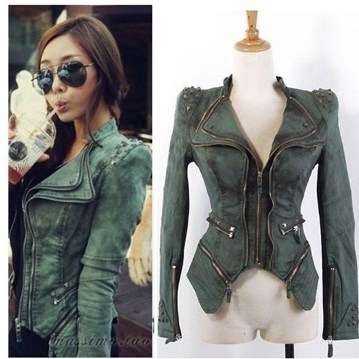 2015 New fashion jackets Star jeans women Punk spike studded shrug shoulder Denim cropped VINTAGE jacket coat S M L XL