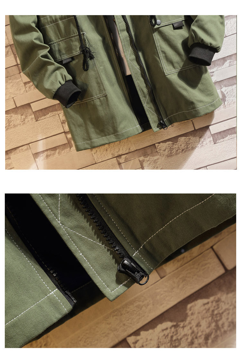 Army Green Trench Coat Men Korean Style Fashion Clothing Male Hooded Trench Coat Jacket   (22)