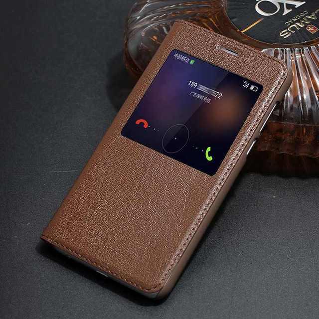 Genuine leather case para huawei honor 8 tampa da janela de luxo vista coque para honor 8 saco do telefone flip de couro real case