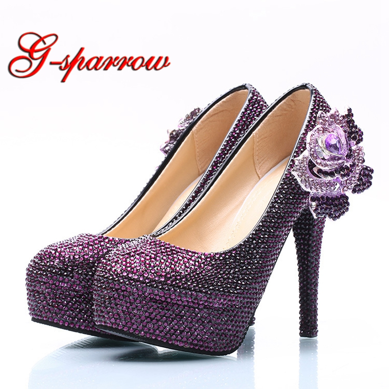 Purple Rhinestone Wedding High Heels Plus Size Crystal