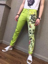 Original news Colored drawing jeans male personality print elastic slim flower pants trousers mens top brand