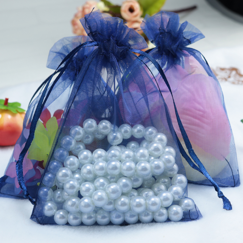 100pcs/lot Navy Organza Bag 7x9cm Drawable Party Favors Candy Boutique Jewelry Packaging Bag Pouches Small Organza Gift Bags