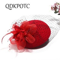 QDKPOTC New Women Linen Feather Fedoras Ladies Cocktail Dinner Party Cap Wedding Bridal Hat Vintage Sombreros Chapeau Black Pin
