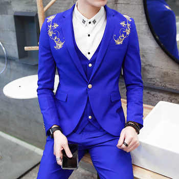 2018 Wedding Prom Latest Designs Handsome Royal Blue Burgundy Black Groom Tuxedos Gold Embroidery 3 Piece Slim Fit Mens Suits