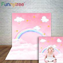 Fond de photographie arc-en-ciel Funnytree, arrière-plan de photographie, peinture de nuages de ciel rose, arrière-plan de douche de bébé, fonds de studio photo