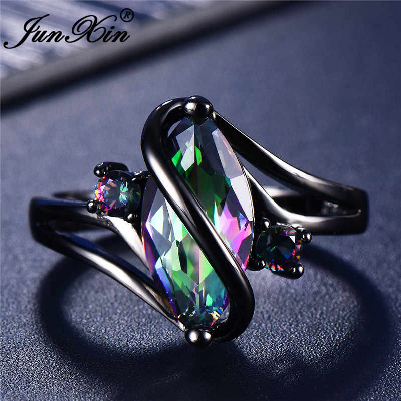 JUNXIN 90 OFF! Rainbow Fire โอปอลแหวน Black Gold Filled S Wave แหวน Marquise ม้าหิน Birthstone แหวน