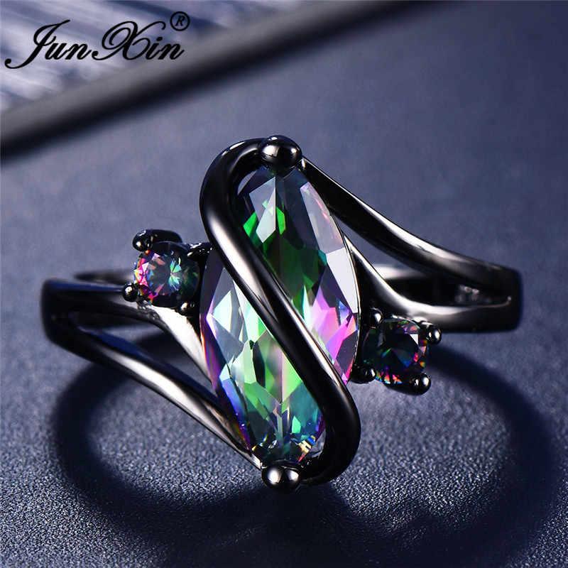 JUNXIN 90 OFF! קשת אש אופל טבעות לנשים שחור גולדפילד S גל טבעת המרקיזה סוסים עין אבן אבן המזל חתונה טבעת
