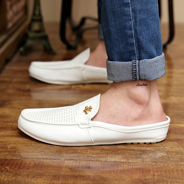 summer men's casual shoes England Fashionable half sandals and slippers  lazy Beach Slip-on Slippers